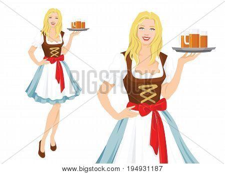 Vector illustration of Oktoberfest waitress in traditional bavarian dress, serving beer isolation on white background.