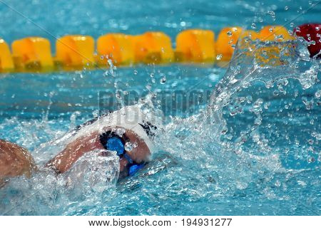 Hong Kong China - Oct 30 2016. Competitive swimmer Katinka HOSSZU (HUN) swimming in the Women's Freestyle 400m Preliminary Heat. FINA Swimming World Cup Victoria Park Swimming Pool.