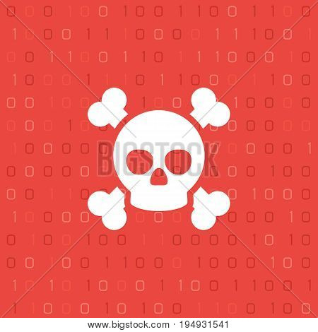 Skull and bones on binary code background. Cyber crime and web pirate concept. Piracy on the Internet. Vector illustration in modern style