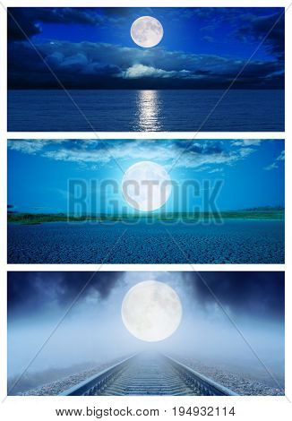 set of different surfaces with moon in night. halloween concept