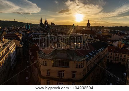 Prague Czech Republic. View of Prague from the Powder Tower panorama of towers and roofs over Prague. Silhouettes of towers and castle.