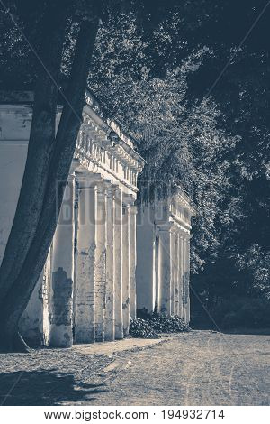 Old vintage photos. OLd Shabby Ruins column park copy spase copy space