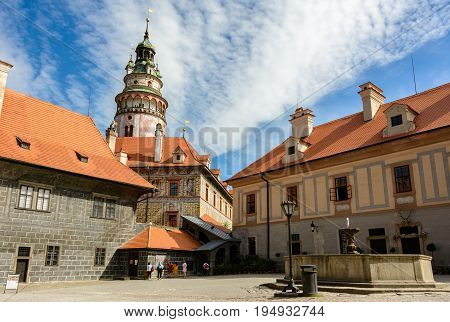 Cesky Krumlov Castle courtyard, Czech Republic, Europe