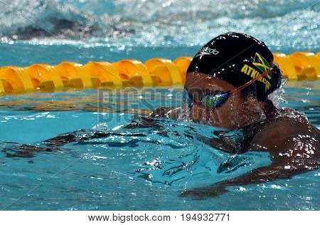 Hong Kong China - Oct 30 2016. Jamaican swimmer and olympian Alia Atkinson swimming in the Women's Breaststroke 200m Preliminary Heat. FINA Swimming World Cup Victoria Park Swimming Pool.