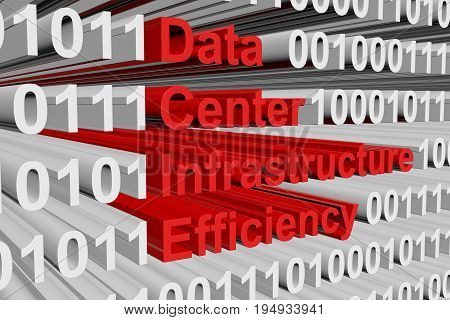 Data center infrastructure efficiency as a binary code 3D illustration poster