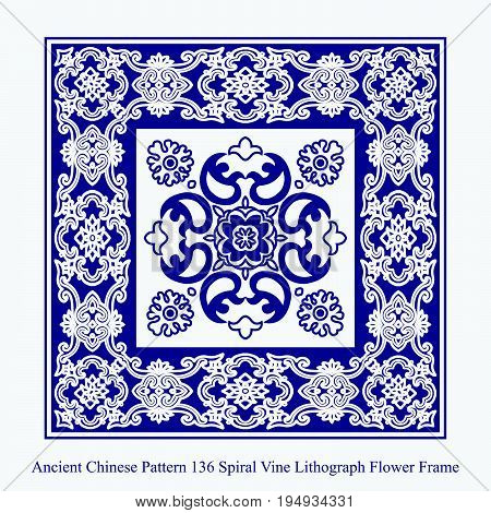 Ancient Chinese Pattern Of Spiral Vine Lithograph Flower Frame
