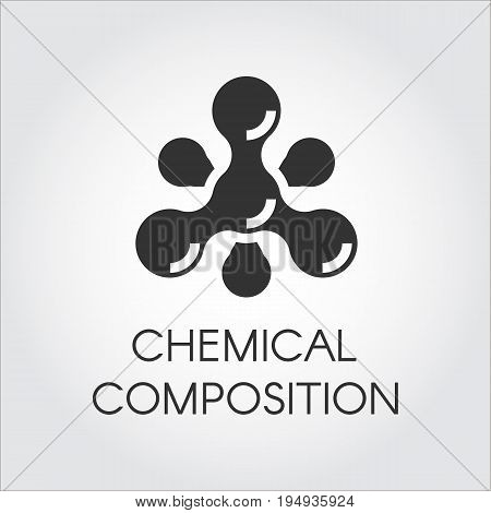 Chemical molecular icon in flat style. Atom structure composition. Black simplicity vector pictogram. Web label on a gray background