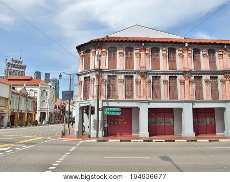 SINGAPORE - MAY 9: The junction of South Bridge Road with Upper Cross Street, Street scene in Singapore's Chinatown on May 9, 2015 in Singapore.