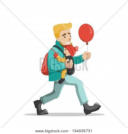 Young father walking with his baby in sling and holding the red ballon. Vector illustration isolated on white. Cartoon style. Concept for fatherhood, happy parenting or stay-at-home dad.