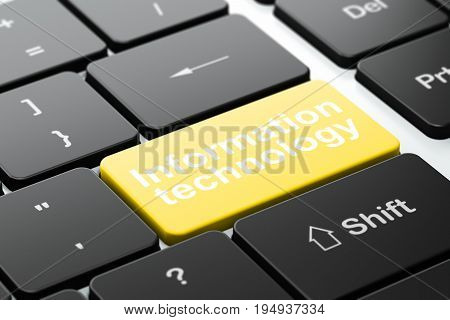 Information concept: computer keyboard with word Information Technology, selected focus on enter button background, 3D rendering