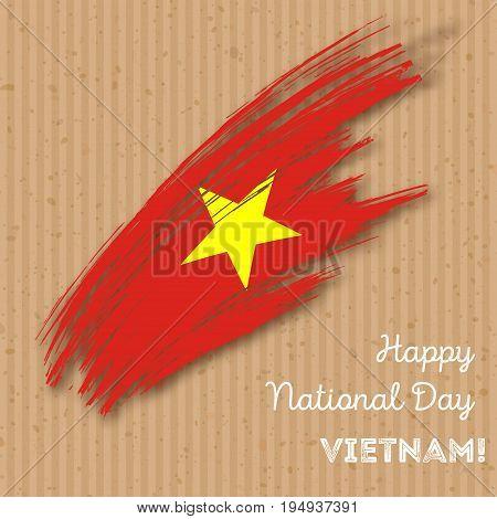 Vietnam Independence Day Patriotic Design. Expressive Brush Stroke In National Flag Colors On Kraft