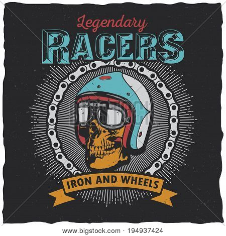 Legendary racers poster with words iron and wheels for design vector illustration