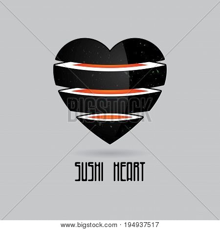 Creative Sushi Logotype poster with image of heart consisting of four bites vector illustration