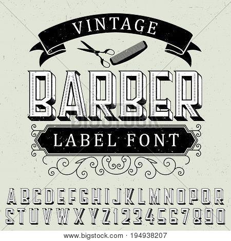 Vintage barber label font poster with sample label design on dusty background vector illustration