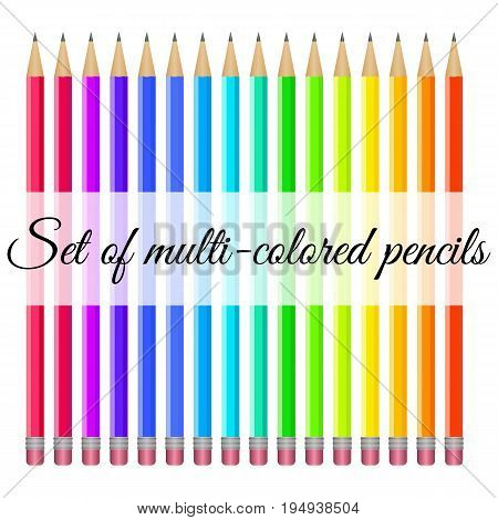 Set of multi-colored pencils with trowels on a white background