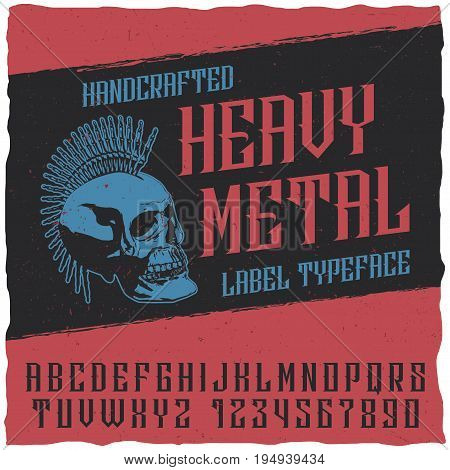 Heavy metal label typeface poster with sceleton on the black background vector illustration