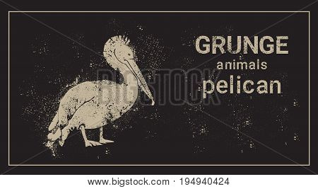Silhouette Pelican In Grunge Design Style Animal Icon Vector Illustration