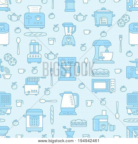 Kitchen utensil, small appliances blue seamless pattern with flat line icons. Background with household cooking tools - blender, mixer, food processor, coffee machine, microwave, toaster. Electronics.