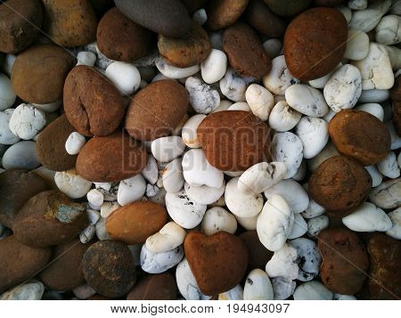 Close up of mixed brown and white stone texture; for background. Concept of coexistence, cohabitation of differences; ditinction