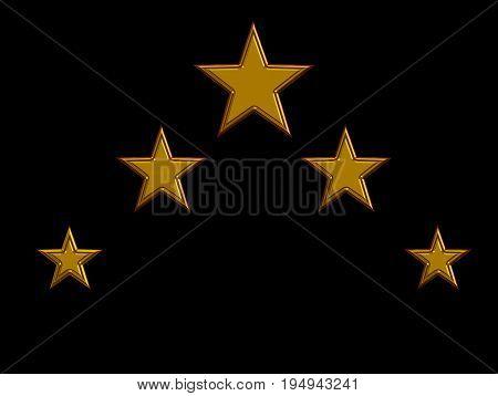 gold five stars on black. five stars sign.