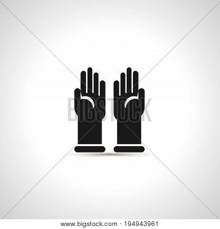 Simple black icon of pair latex protective gloves. Safety symbol