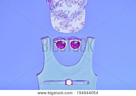 Summer Hipster Girl Accessories Set. Fashion Design. Hot Summer Sunny Vibes. Trendy Cap, fashion Sunglasses, Top and Watch. Creative Bright Sweet Style. Vanilla Blue Pastel Color.Minimal, Art