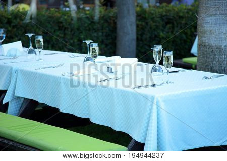 Dinner served on the backyard table. Celebration