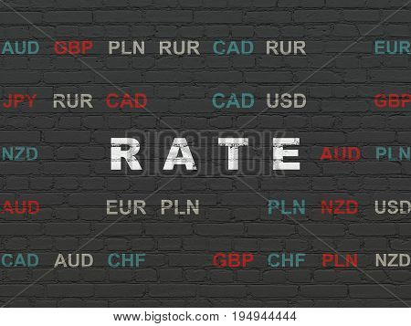 Currency concept: Painted white text Rate on Black Brick wall background with Currency