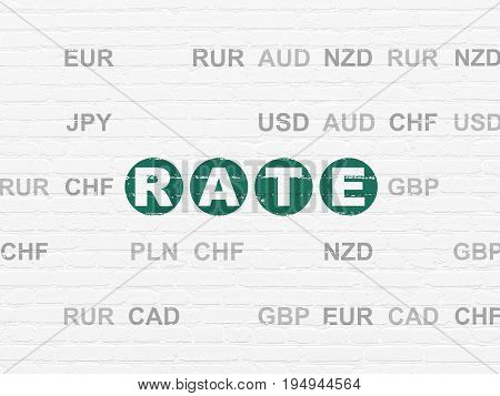 Currency concept: Painted green text Rate on White Brick wall background with Currency