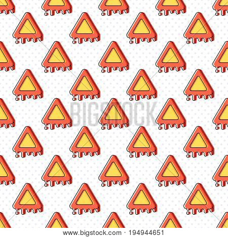 Melting warning seamless pattern with dots. Attention symbol