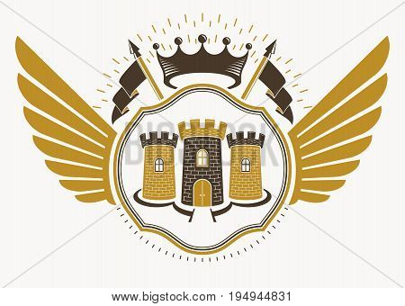 Vector retro heraldic template created using eagle wings and made using vintage elements like royal crown and medieval stronghold