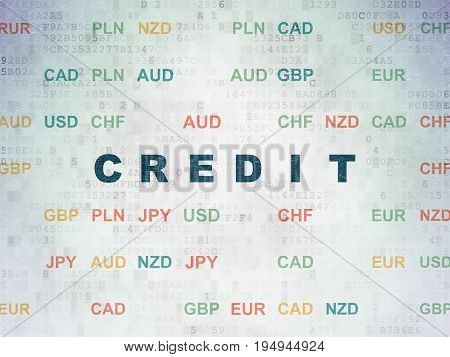 Money concept: Painted blue text Credit on Digital Data Paper background with Currency