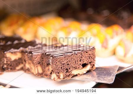 Deliciouis of piece chocolate pie. Sweet dessert