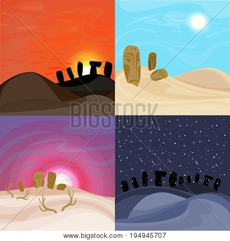 Beautiful desert landscapes set with african tribal masks at sunrise sunset night and day time vector illustration