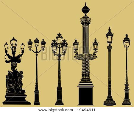 Vector illustration of an old fashioned lampost set