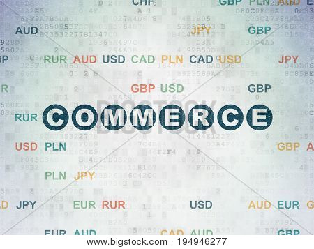 Finance concept: Painted blue text Commerce on Digital Data Paper background with Currency