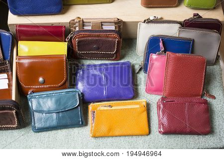 Different color of billfold in the market. Miscellaneous shop.