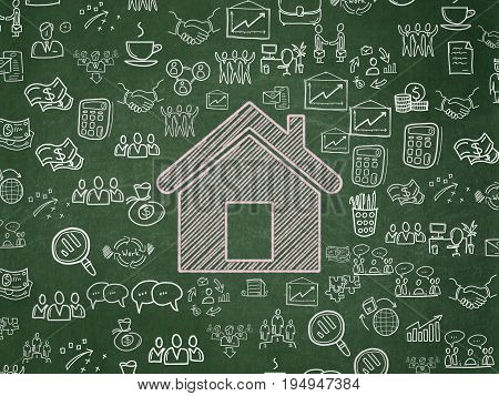 Business concept: Chalk Pink Home icon on School board background with  Hand Drawn Business Icons, School Board