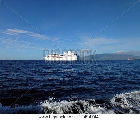 Cruse Ship At Anchor Off Lahaina, Maui, Hawaii