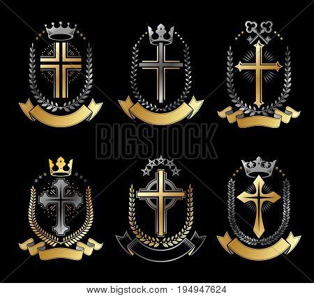 Christian Crosses emblems set. Heraldic vector design elements collection. Retro style label heraldry logo.