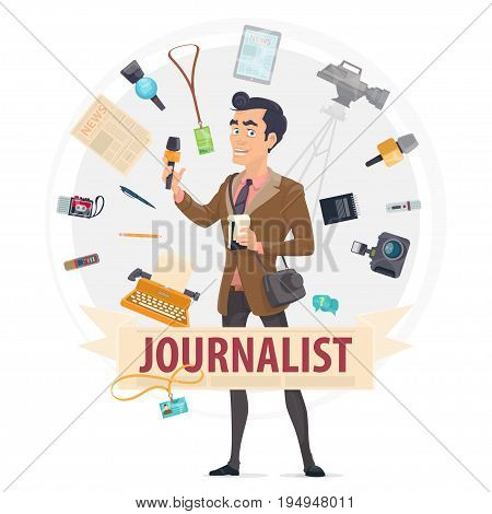 Colorful reporter round concept with journalist professional equipment and tools isolated vector illustration