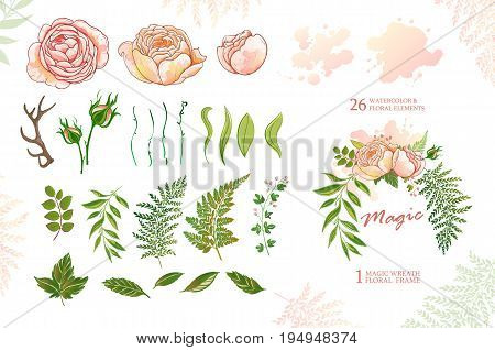Wedding invitation collection with rustic elements. Hand drawn boho chic style design elements with deer antler, watercolor, roses, flowers isolated on white background