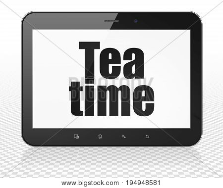 Timeline concept: Tablet Pc Computer with black text Tea Time on display, 3D rendering