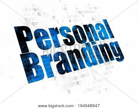 Marketing concept: Pixelated blue text Personal Branding on Digital background