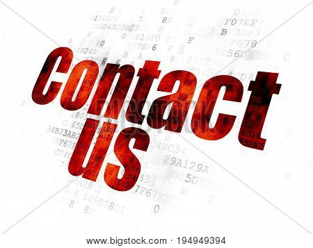 Marketing concept: Pixelated red text Contact Us on Digital background