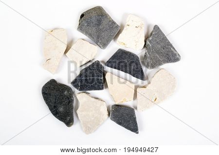 Natural dark and white stones texture and surface background. Top view