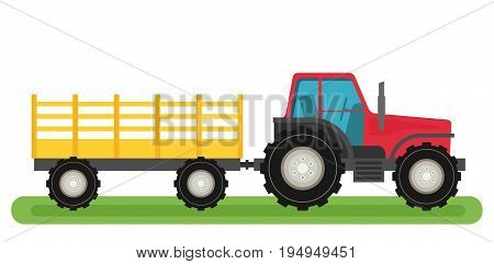 Flat tractor icon with semi-trailer icon isolated