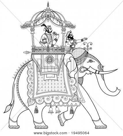 Vector illustration of a decorated Indian elephant poster