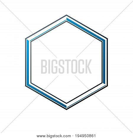 Victorian art vector hexagonal frame with blank copy space. Heraldic template illustration mirror border.