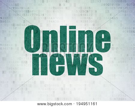 News concept: Painted green word Online News on Digital Data Paper background